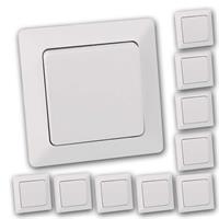 10er Pack MILOS Wechsel-Schalter weiß matt | UP mit Rahmen