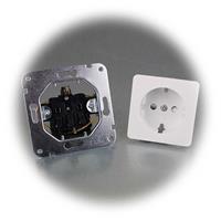 Mattweiße MILOS Schutzkontakt-Steckdose ohne Rahmen