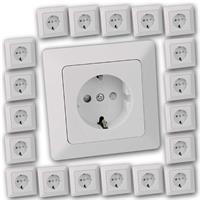 20 MILOS Schutzkontakt-Steckdosen weiß matt | UP mit Rahmen