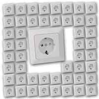 50 MILOS Schutzkontakt-Steckdose weiß matt | UP mit Rahmen