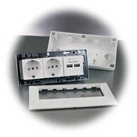 Steckdosenblock mit 2 Schutzkontakt-Steckdosen und 2 USB-Buchsen