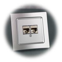 Silberne Netzwerkdose gemäß Cat6 Standard für LAN bis 300MHz