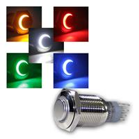 Metal button | LED light ring, 5 colours | 1-pole | 230V