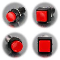 Drucktaster mit rotem Knopf als Schließer oder Öffner