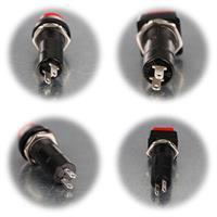 Drucktaster mit rotem Knopf in runder oder eckiger Form