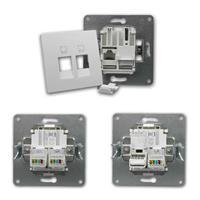 FLAIR Netzwerkdose weiß, 250V~/10A, UP, 2x RJ45