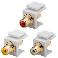 Keystone Modul Cinch/RCA | 2xCinch-Buchse, 3 Farben | 16,2mm