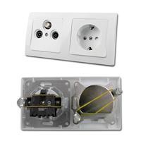 DELPHI Kombi Schuko-Steckkdose & Antennendose, weiß