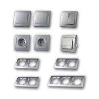 DELPHI Set hallway with doorbell button | 12 pieces, silver