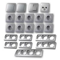 DELPHI Set comfort | 23 pieces, silver, sockets & TV box
