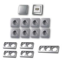 DELPHI Set office | 16 pieces, silver, switch/network socket
