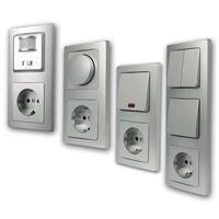 DELPHI Sets Tür | Schalter, Steckdose, Dimmer | silber, UP
