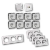 MILOS Set office | 16 pieces, white, switch, network socket