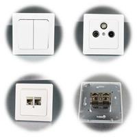 MILOS 2-fach Serien-Schalter und RJ45 Netzwerkdose, 2x CAT6