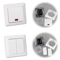 MILOS Serien-Schalter und Kontroll-Schalter, Unterputz, weiß