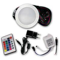 Komplett Set runde Einbaustrahler mit RGB Controller, FB und Netzteil