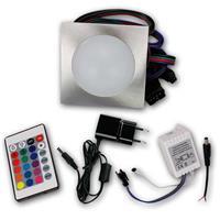 Komplett Set eckige Einbaustrahler mit RGB Controller, FB und Netzteil