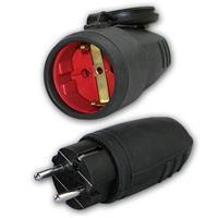 Schutzkontakt Gummi-Stecker/-Kupplung / Set | für außen