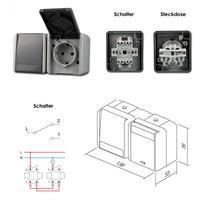 fontana Steckdose/Schalter, grau, 250V~/16A, AP, IP44