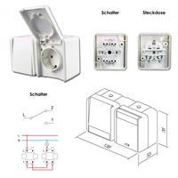 fontana Steckdose/Schalter, weiß, 250V~/16A, AP, IP44