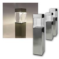 LED solar light, set of 3 | stainless steel, twilight sensor
