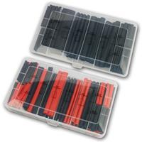 Shrink tubing set 3:1 in PE box | 142pcs, black or red/black