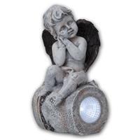 Beleuchtete Steinfigur mit Solarpanel an Rückseite