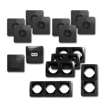 EKONOMIK Set office | 15 pieces, anthracite, network socket