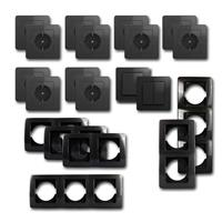 EKONOMIK Set niveau | 20 pieces, anthracite, switch & socket