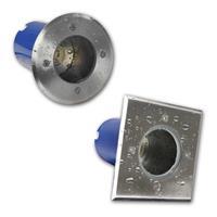 Einbauleuchte aus Aluminium/Edelstahl mit Glas-Abdeckung