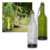 LED solar glass BOTTLE clear/ green | LED bottle light
