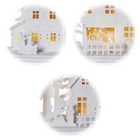LED Dekohaus aus Naturmaterial, buntes Straßenleben