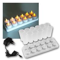 Set of 12 LED tea lights, cream, with Wind glass