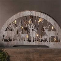 LED Schwibbogen aus Holz, Waldmotive, warmweiß