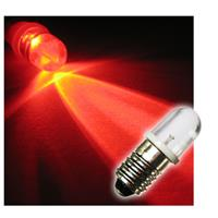 1x E10 LED light bulb | screw socket | red | 10mm lens | 12V