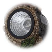 LED Solarleuchte Zwerg GNOMY auf Baumstamm mit Säge, Solarlampe, kaltweiße LEDs, IP44