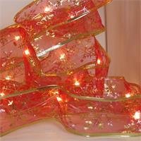 rotes Geschenkband mit LED Lichterkette, Leuchtfarbe warmweiß