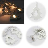 LED Batterielichterkette mit 10 Tannenbäumen aus Holz