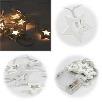 LED Dekolichterkette für den Innenbereich mit 10 Sternen aus Holz