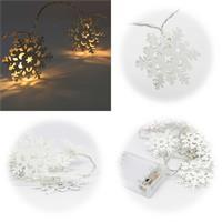LED Weihnachtsdeko mit 10 Schneeflocken aus Metall