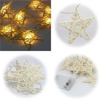 LED Lichterkette mit 10 Sternen aus Rattan