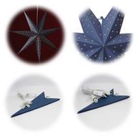 Weihnachtsdeko blau, Ø 60cm, 7 Zacken mit und ohne LED Beleuchtung