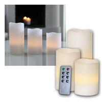 LED wax candle set, 3 pieces | with remote control | indoor