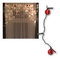 Lichtervorhang | Kugeln rot/ gold | 70 LED | warmweiß