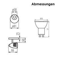 Abmessungen Spotleuchte MOLI und GU10 Strahler