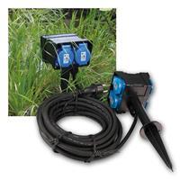 Garden socket | 2-/4-fold | IP44 | 250V~/16A | 2 or10m cabel