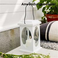 LED Außenkerze, weiß/ schwarz, Deko Kerze