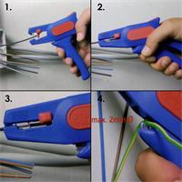 Profiwerkzeug mit einstellbaren Längenanschlag und Seitenschneider