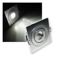 LED Einbaustrahler | Aluminium | eckig | pur-weiß | 3W/12V