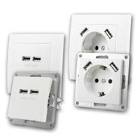 FLAIR USB charging socket, double, white | Combi socket+ USB